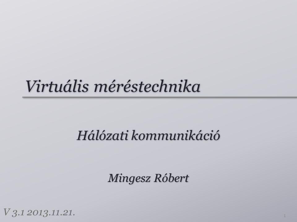 Virtuális méréstechnika Hálózati kommunikáció 1 Mingesz Róbert V 3.1 2013.11.21.