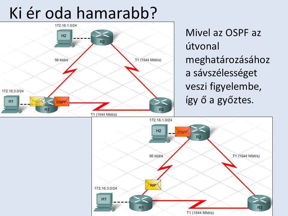 Ki ér oda hamarabb? Mivel az OSPF az útvonal meghatározásához a sávszélességet veszi figyelembe, így ő a győztes.