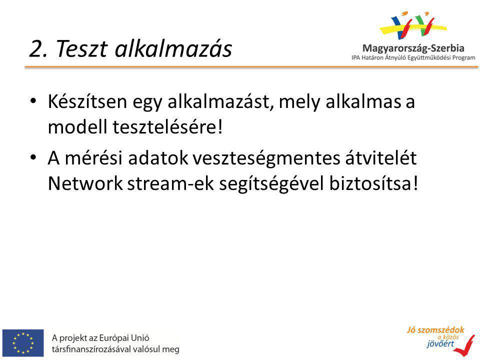 2. Teszt alkalmazás Készítsen egy alkalmazást, mely alkalmas a modell tesztelésére! A mérési adatok veszteségmentes átvitelét Network stream-ek segíts