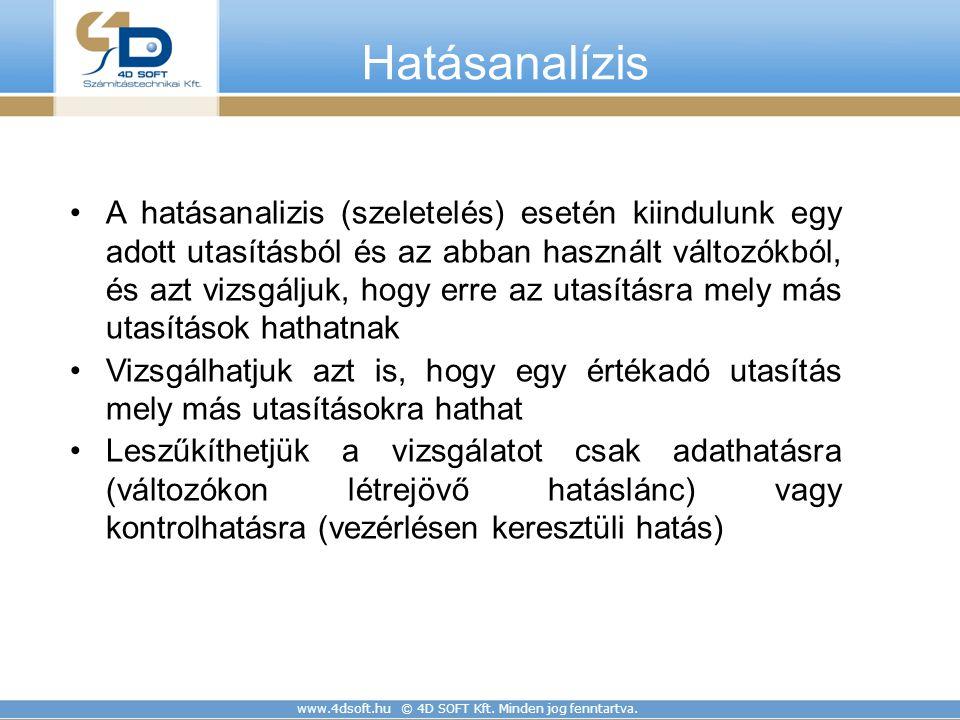 www.4dsoft.hu © 4D SOFT Kft. Minden jog fenntartva. Hatásanalízis A hatásanalizis (szeletelés) esetén kiindulunk egy adott utasításból és az abban has
