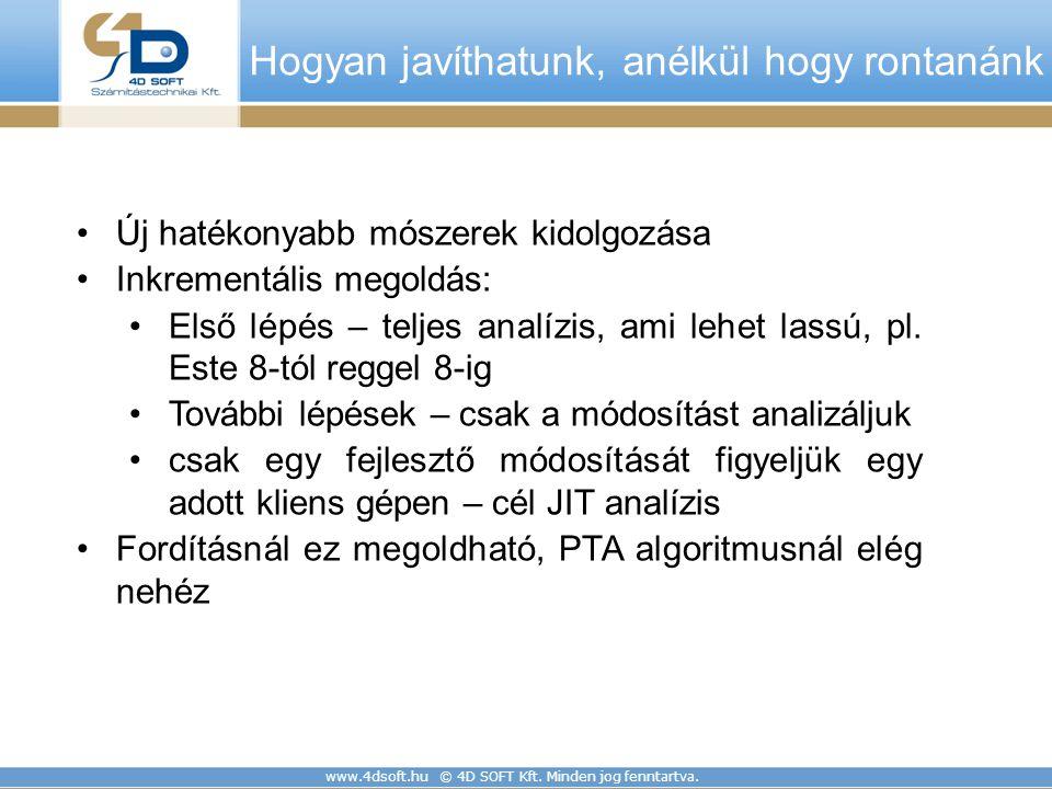 www.4dsoft.hu © 4D SOFT Kft. Minden jog fenntartva. Hogyan javíthatunk, anélkül hogy rontanánk Új hatékonyabb mószerek kidolgozása Inkrementális megol