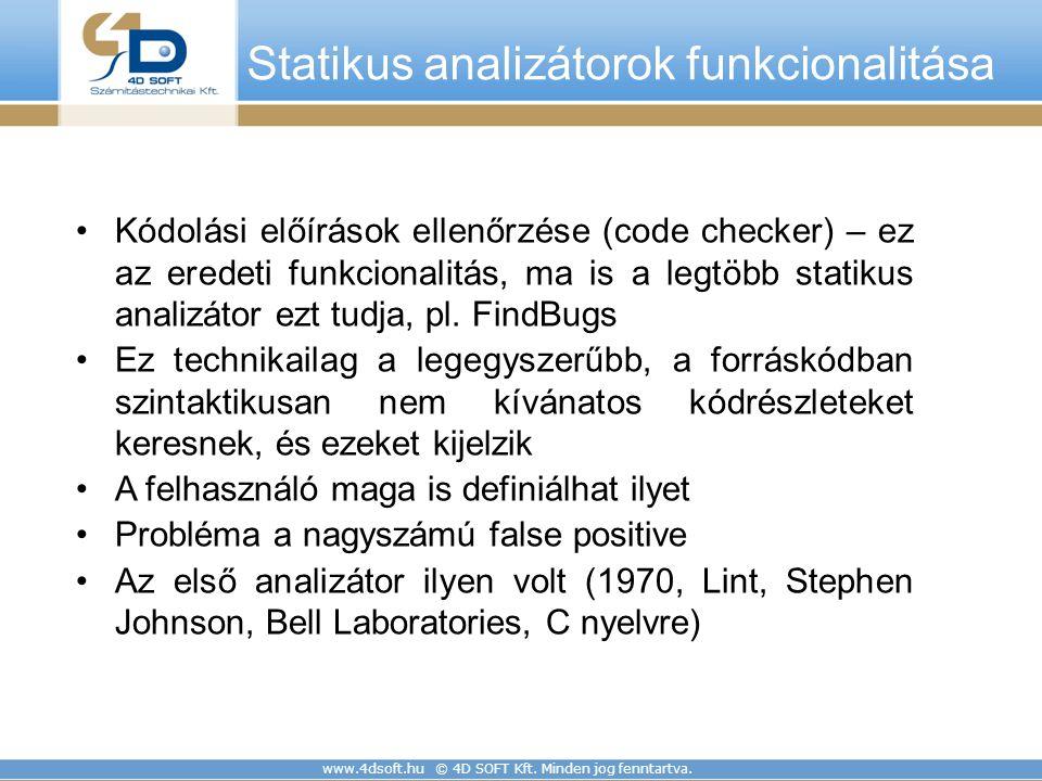 www.4dsoft.hu © 4D SOFT Kft. Minden jog fenntartva. Statikus analizátorok funkcionalitása Kódolási előírások ellenőrzése (code checker) – ez az eredet