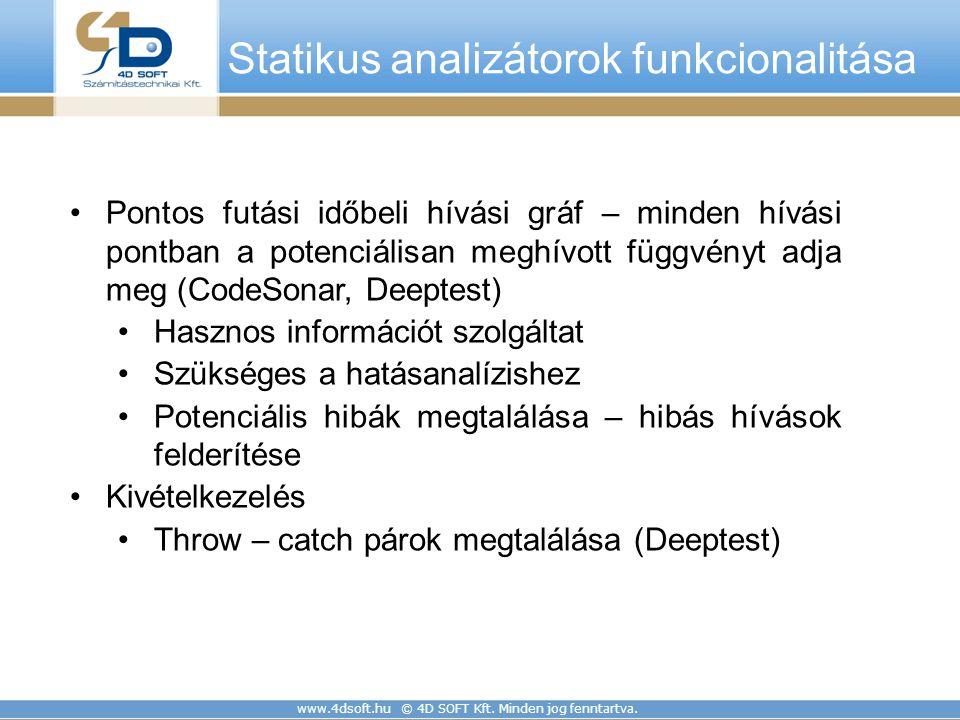www.4dsoft.hu © 4D SOFT Kft. Minden jog fenntartva. Pontos futási időbeli hívási gráf – minden hívási pontban a potenciálisan meghívott függvényt adja