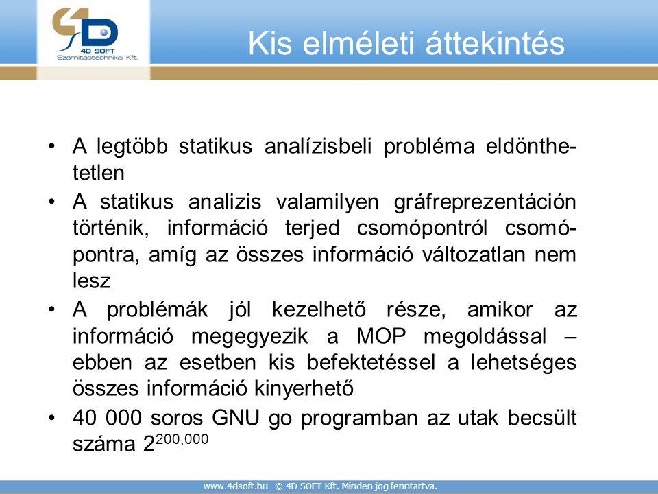 www.4dsoft.hu © 4D SOFT Kft. Minden jog fenntartva. Kis elméleti áttekintés A legtöbb statikus analízisbeli probléma eldönthe- tetlen A statikus anali