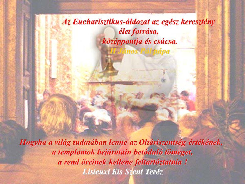 Az Eucharistia a Király Fiának és az általa megváltott emberiségnek az ünnepe: olyan ünnep, amely most felvidítja oltárainkat és az örökkévalóságban mindörökké folytatódik Mindannyian hivatalosak vagyunk erre az ünnepre.
