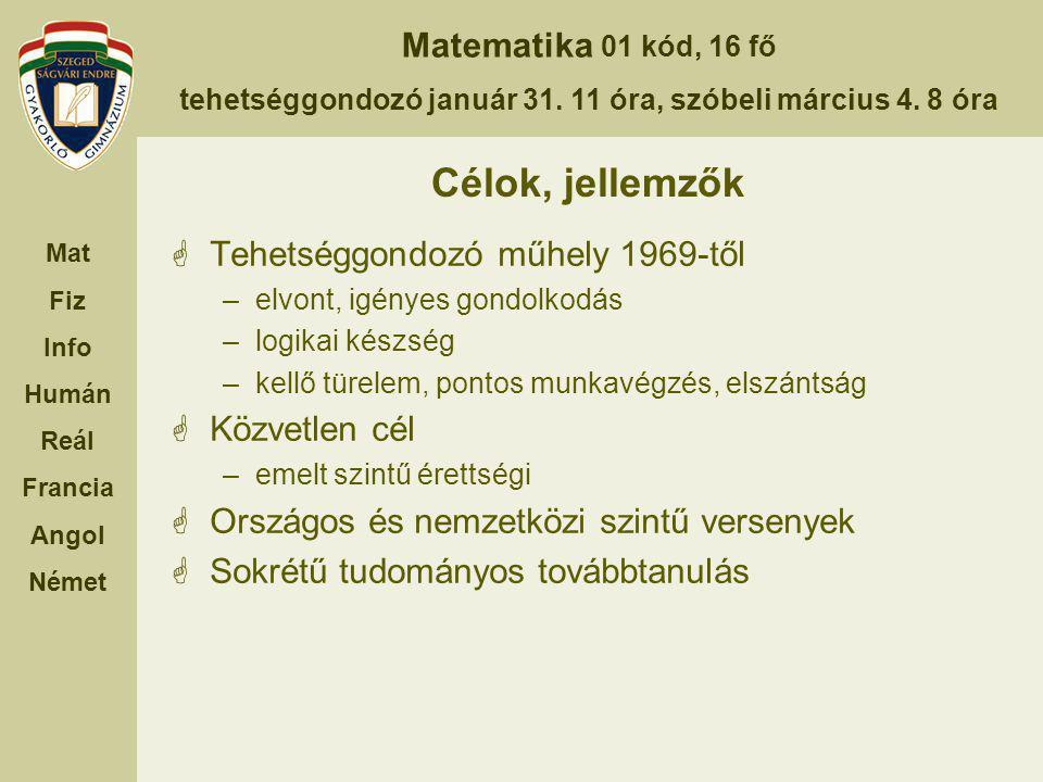 Matematika 01 kód, 16 fő tehetséggondozó január 31. 11 óra, szóbeli március 4. 8 óra Mat Fiz Info Humán Reál Francia Angol Német Célok, jellemzők  Te