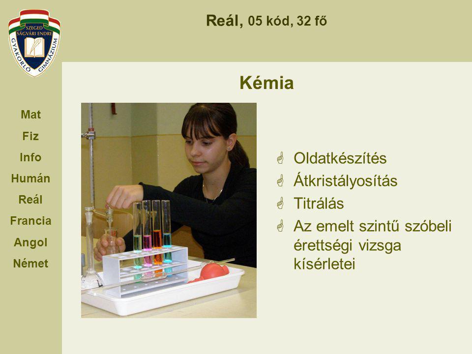 Reál, 05 kód, 32 fő Mat Fiz Info Humán Reál Francia Angol Német Kémia  Oldatkészítés  Átkristályosítás  Titrálás  Az emelt szintű szóbeli érettség