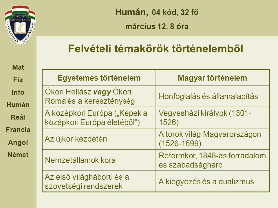 Humán, 04 kód, 32 fő március 12. 8 óra Mat Fiz Info Humán Reál Francia Angol Német Felvételi témakörök történelemből Egyetemes történelemMagyar történ