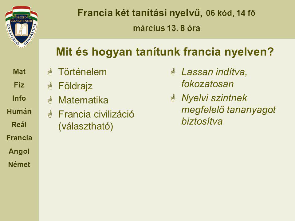 Francia két tanítási nyelvű, 06 kód, 14 fő március 13.