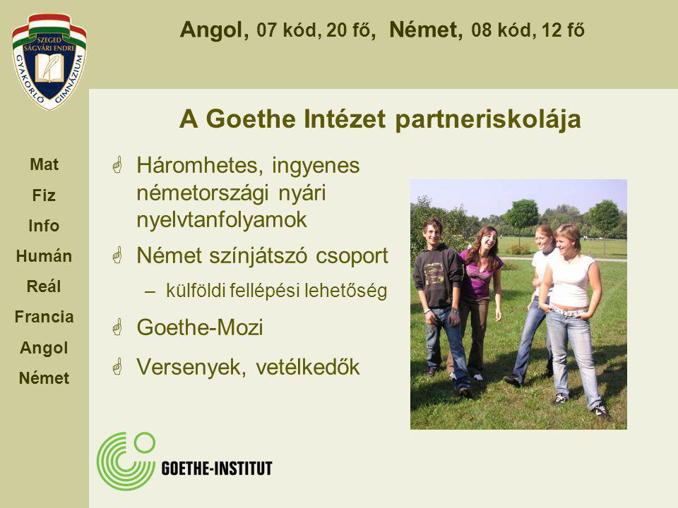 Angol, 07 kód, 20 fő, Német, 08 kód, 12 fő Mat Fiz Info Humán Reál Francia Angol Német A Goethe Intézet partneriskolája  Háromhetes, ingyenes németor