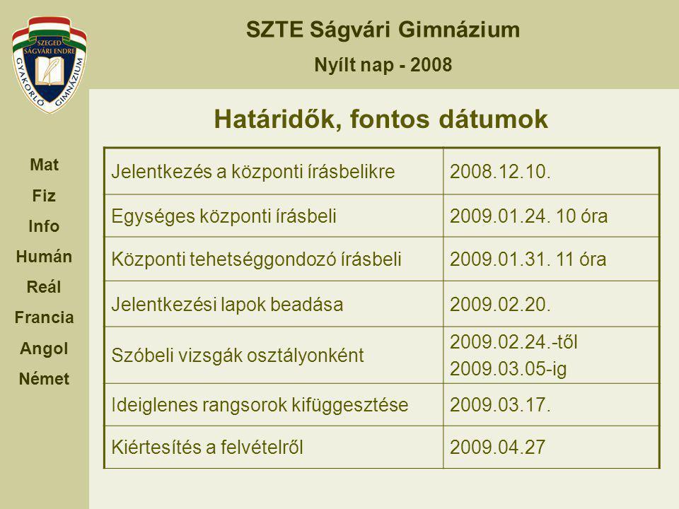 SZTE Ságvári Gimnázium Nyílt nap - 2008 Mat Fiz Info Humán Reál Francia Angol Német Határidők, fontos dátumok Jelentkezés a központi írásbelikre2008.1