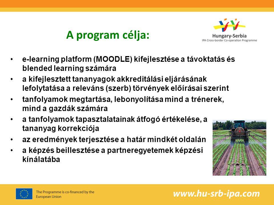 Célcsoportok: trénerek: a P1 és P2 oktatói növényvédelmi szakemberek szaktanácsadók a projekt célterületéről agrárvállalkozók gazdák, gazdálkodók