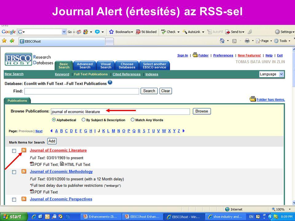 Journal Alert (értesítés) az RSS-sel