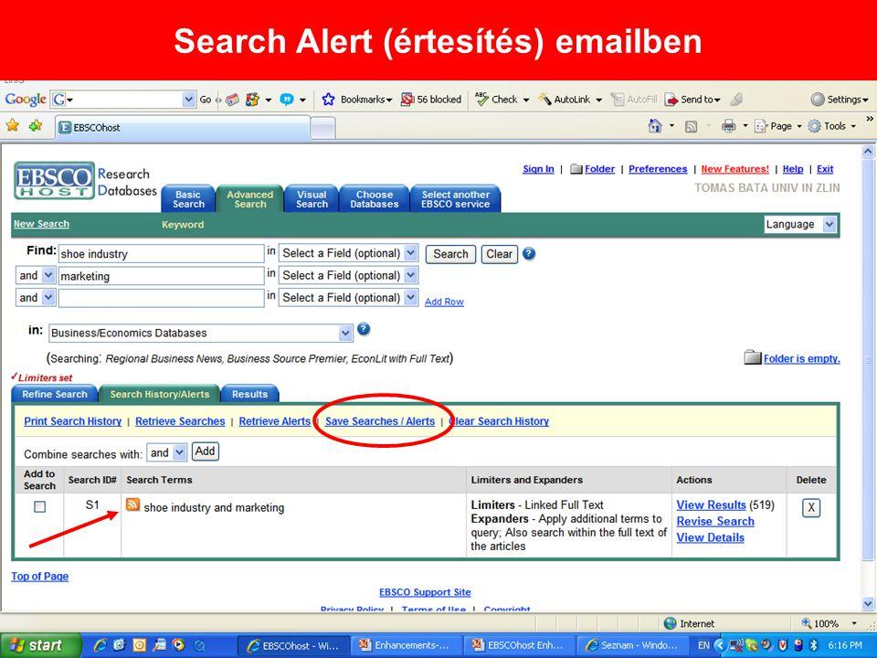 Search Alert (értesítés) emailben