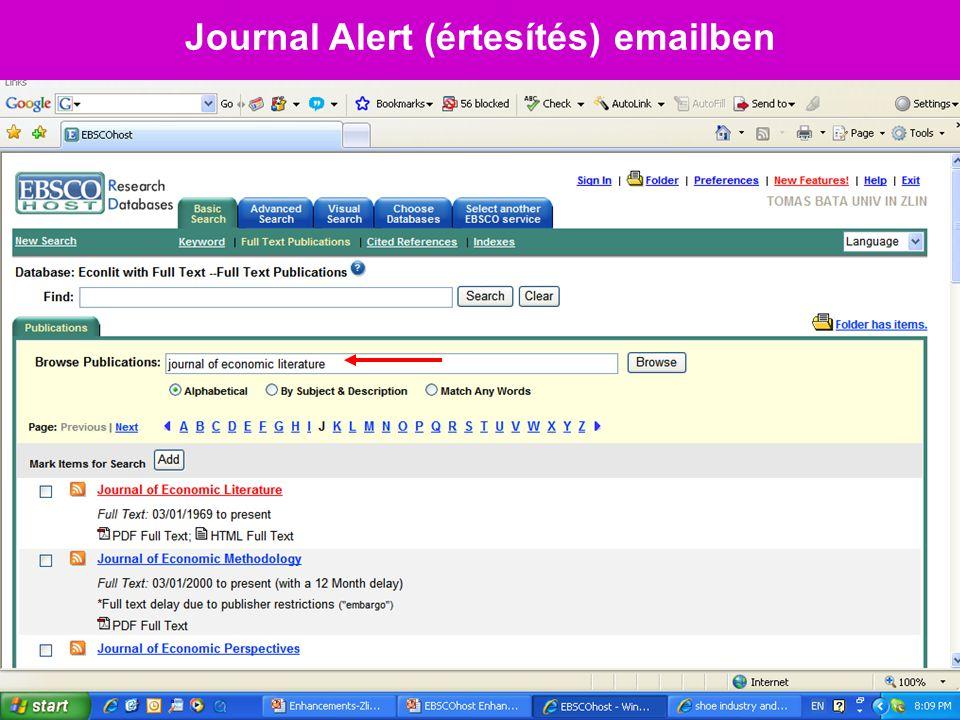 Journal Alert (értesítés) emailben