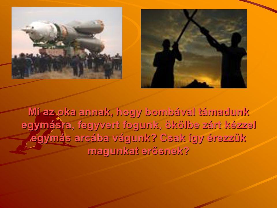 Mi az oka annak, hogy bombával támadunk egymásra, fegyvert fogunk, ökölbe zárt kézzel egymás arcába vágunk? Csak így érezzük magunkat erősnek?