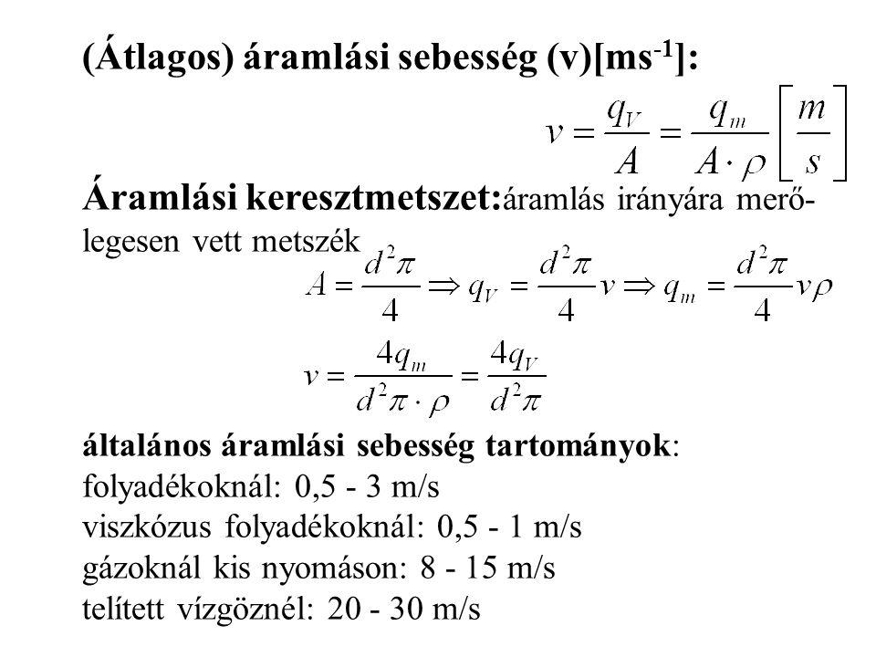 (Átlagos) áramlási sebesség (v)[ms -1 ]: Áramlási keresztmetszet: áramlás irányára merő- legesen vett metszék általános áramlási sebesség tartományok: