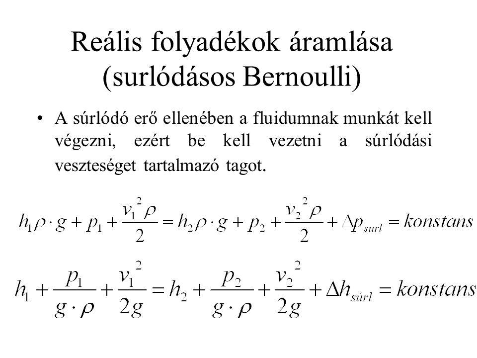 Reális folyadékok áramlása (surlódásos Bernoulli) A súrlódó erő ellenében a fluidumnak munkát kell végezni, ezért be kell vezetni a súrlódási vesztesé