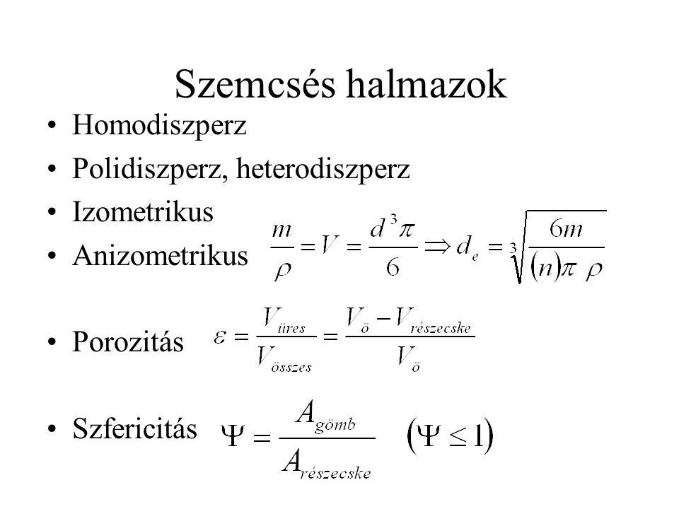Szemcsés halmazok Homodiszperz Polidiszperz, heterodiszperz Izometrikus Anizometrikus Porozitás Szfericitás