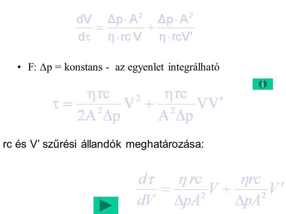 F:  p = konstans - az egyenlet integrálható rc és V' szűrési állandók meghatározása: