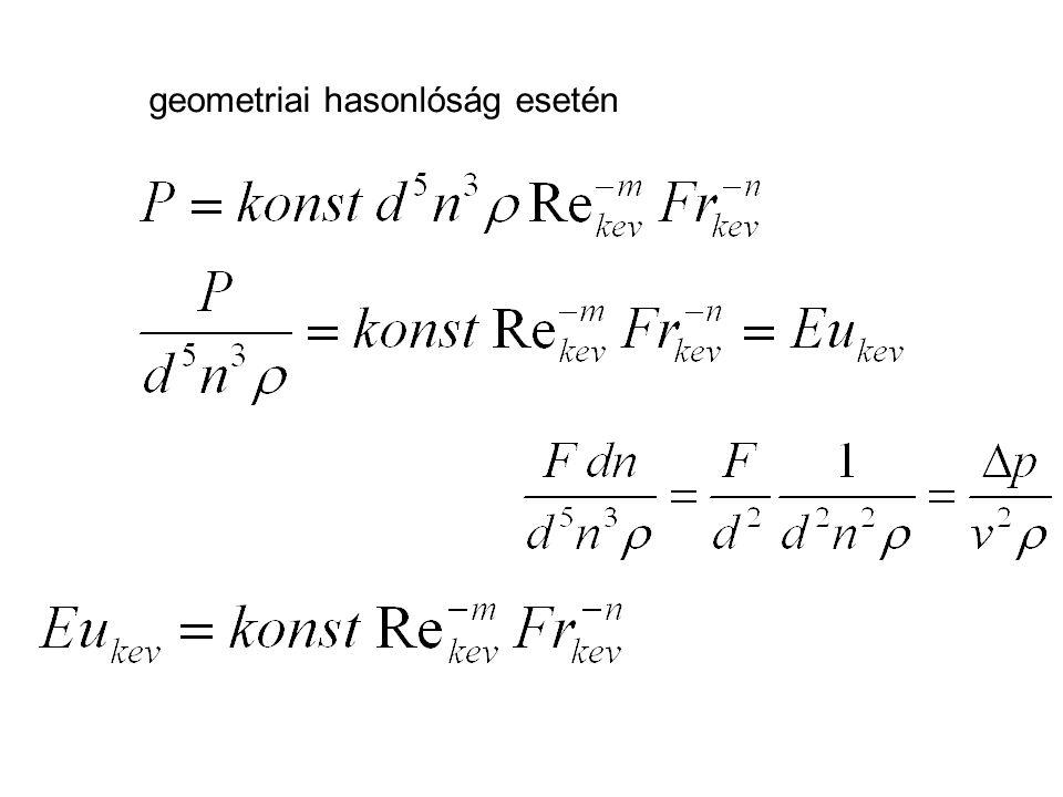 geometriai hasonlóság esetén