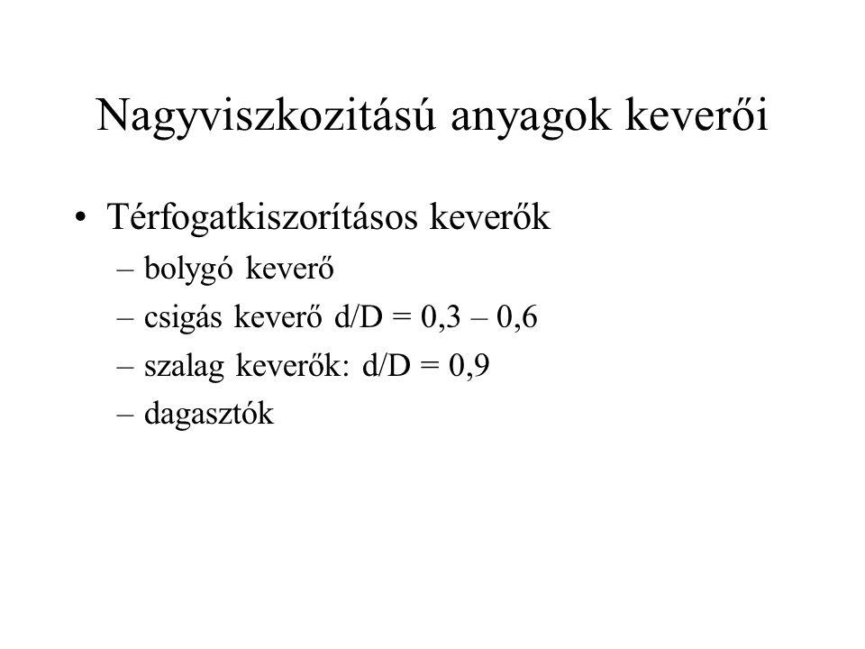 Nagyviszkozitású anyagok keverői Térfogatkiszorításos keverők –bolygó keverő –csigás keverő d/D = 0,3 – 0,6 –szalag keverők: d/D = 0,9 –dagasztók