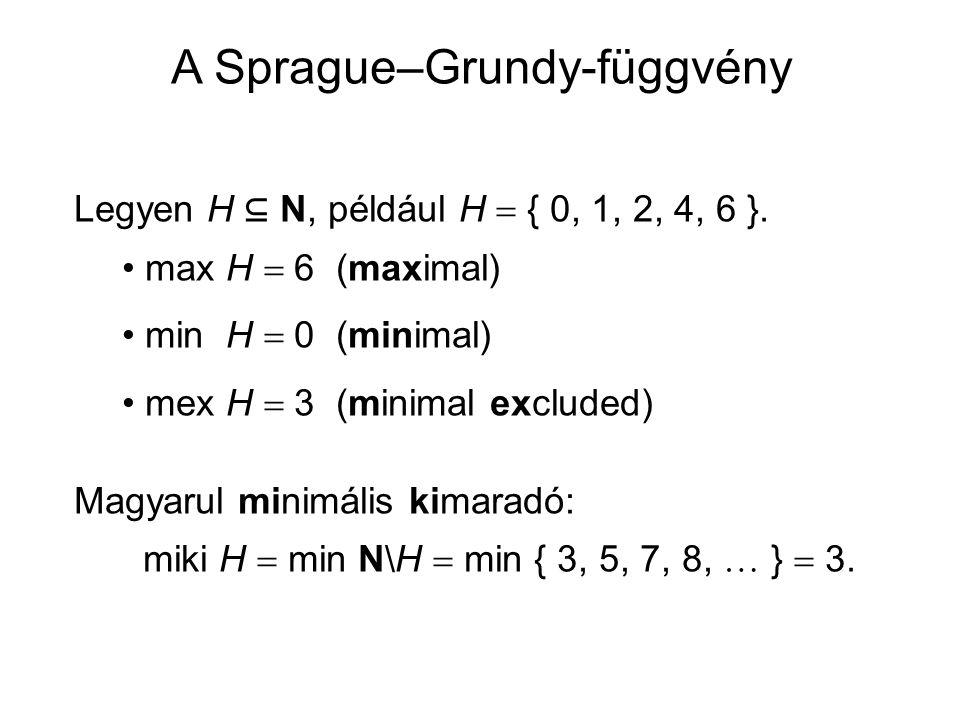 Legyen H ⊆ N, például H  { 0, 1, 2, 4, 6 }. max H  6 (maximal) min H  0 (minimal) mex H  3 (minimal excluded) Magyarul minimális kimaradó: miki H