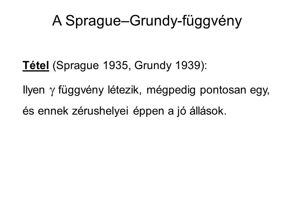 Tétel (Sprague 1935, Grundy 1939): Ilyen  függvény létezik, mégpedig pontosan egy, és ennek zérushelyei éppen a jó állások. A Sprague–Grundy-függvény