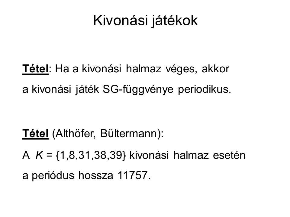 Kivonási játékok Tétel: Ha a kivonási halmaz véges, akkor a kivonási játék SG-függvénye periodikus. Tétel (Althöfer, Bültermann): A K = {1,8,31,38,39}