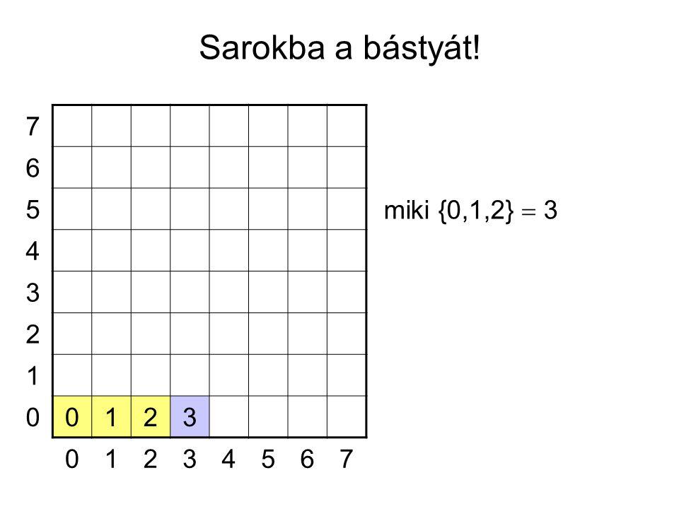 7 6 5 4 3 2 1 00123 01234567 miki {0,1,2}  3 Sarokba a bástyát!