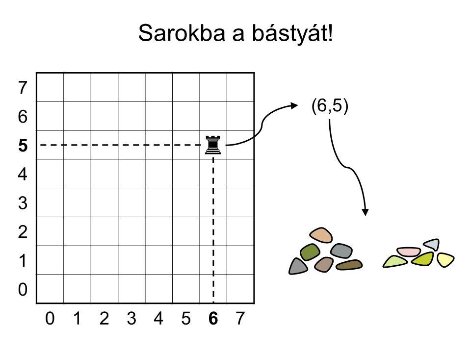 7 6 5 4 3 2 1 0 01234567 Sarokba a bástyát! (6,5)