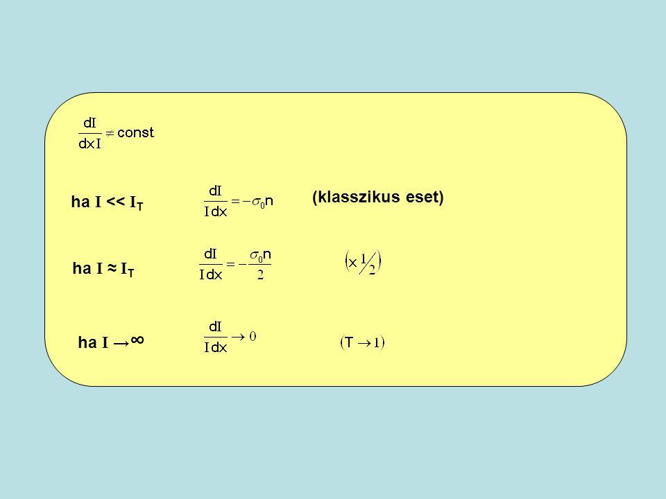 ha I << I T (klasszikus eset) ha I ≈ I T ha I → ∞