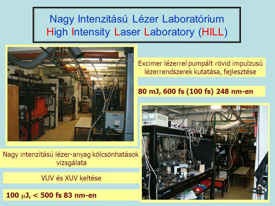 Nagy Intenzitású Lézer Laboratórium High Intensity Laser Laboratory (HILL) Excimer lézerrel pumpált rövid impulzusú lézerrendszerek kutatása, fejleszt