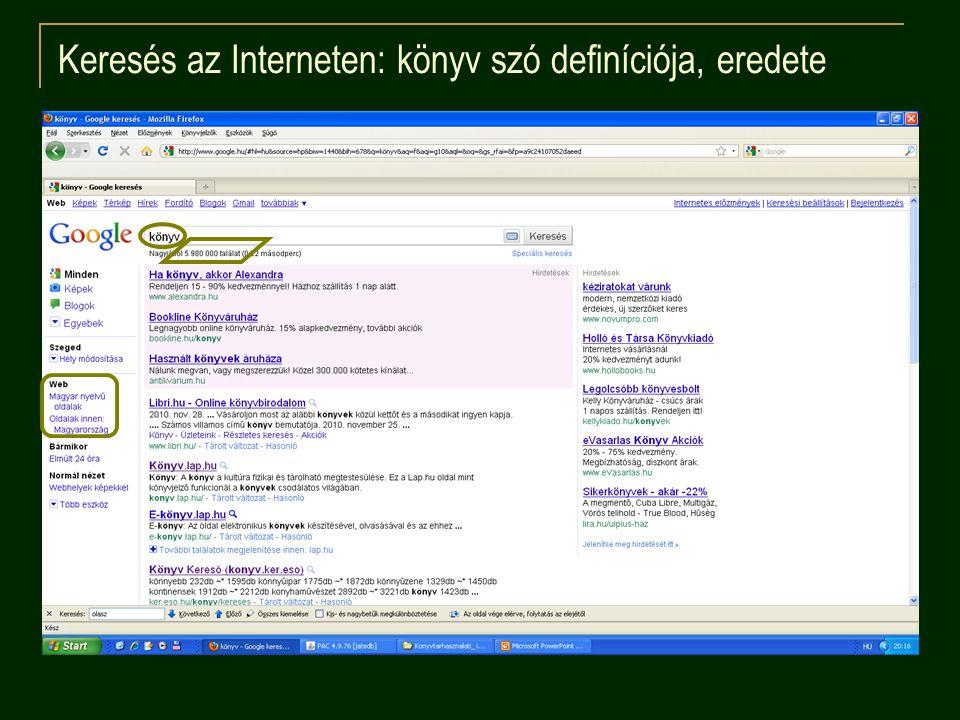Keresés az Interneten: könyv szó definíciója, eredete
