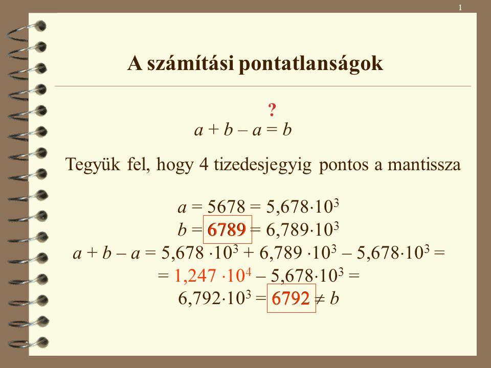 1 A számítási pontatlanságok a + b – a = b ? Tegyük fel, hogy 4 tizedesjegyig pontos a mantissza a = 5678 = 5,678  10 3 b = 6789 = 6,789  10 3 a + b