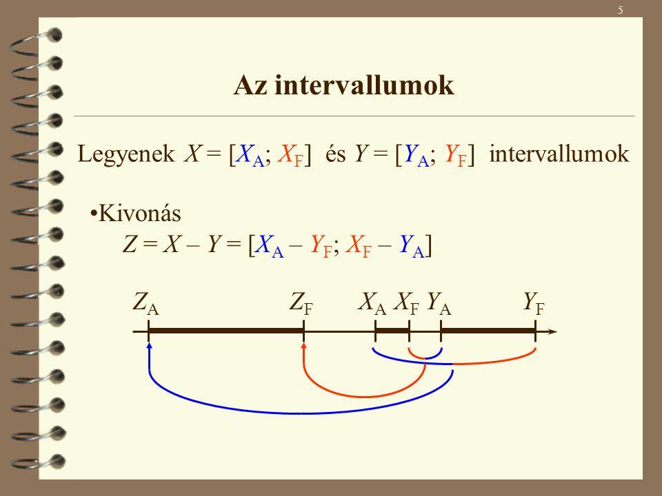 6 Az intervallumok H = {X A Y A, X A Y F, X F Y A, X F Y F } Szorzás Z = X  Y = [min H; max H] Osztás Z = X / Y = X  [1/Y F ; 1/Y A ] ahol 0  Y Legyenek X = [X A ; X F ] és Y = [Y A ; Y F ] intervallumok