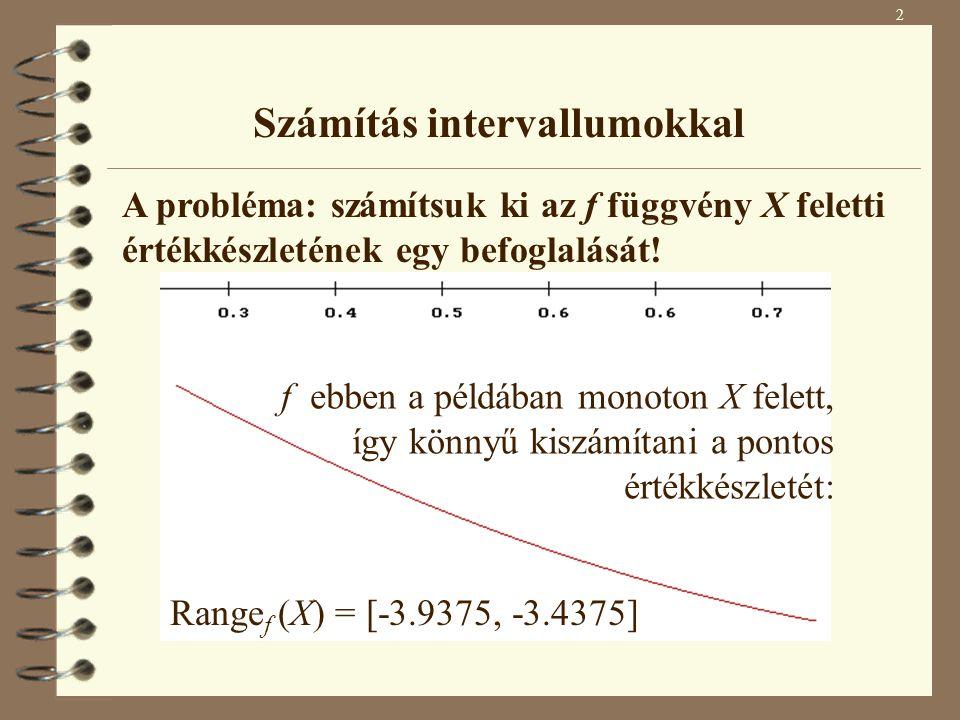 Ha kiszámítjuk az f függvény F 1 befoglaló függvényét X felett: F 1 (X) = [-4.4375, -2.9375] (Range f (X) = [-3.9375, -3.4375]) Range f (X)  F 1 (X) Általában igen nehéz probléma egy tetszőleges függvény értékészletének megadása.