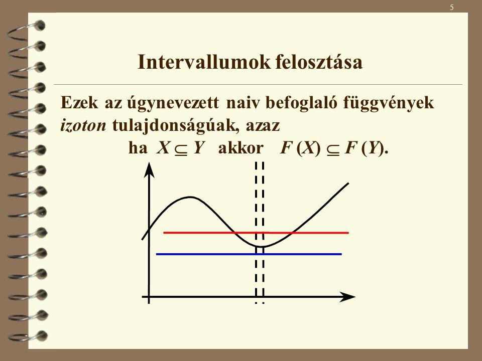 Intervallumok felosztása Ezek az úgynevezett naiv befoglaló függvények izoton tulajdonságúak, azaz ha X  Y akkor F (X)  F (Y). 5