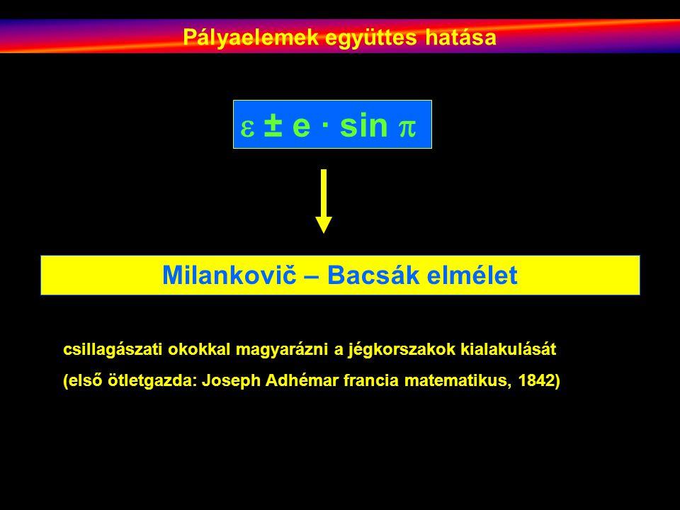Pályaelemek együttes hatása  ± e · sin  Milankovič – Bacsák elmélet csillagászati okokkal magyarázni a jégkorszakok kialakulását (első ötletgazda: Joseph Adhémar francia matematikus, 1842)