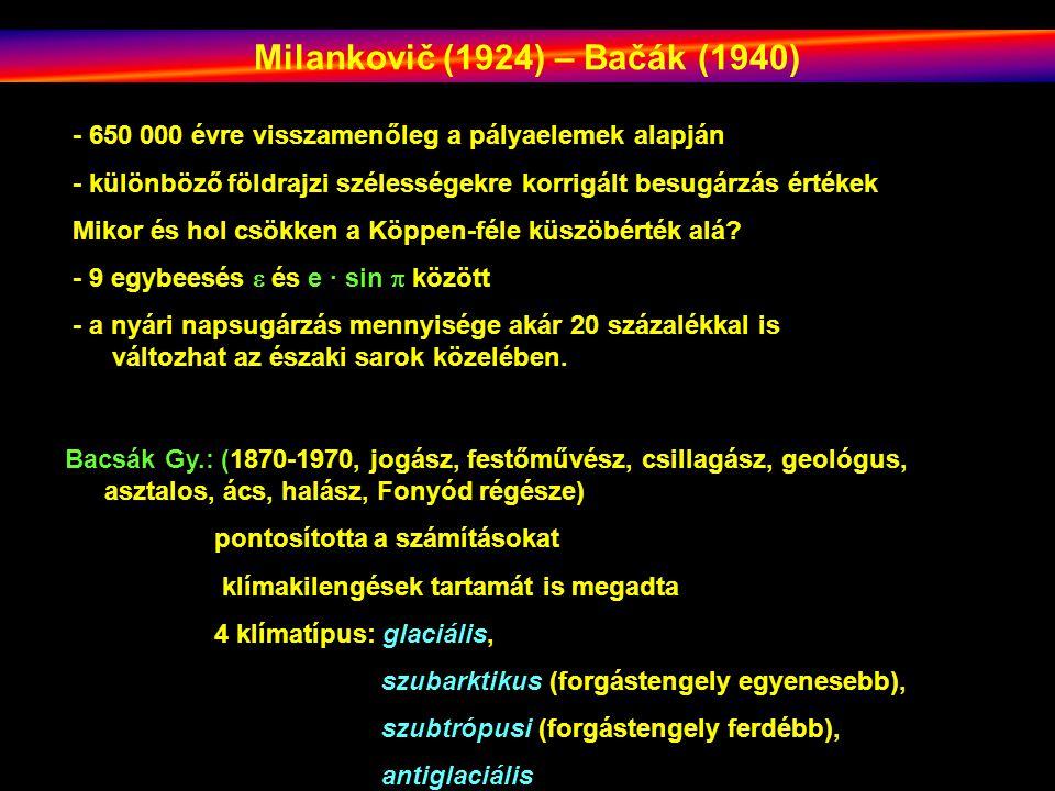 Milankovič (1924) – Bačák (1940) - 650 000 évre visszamenőleg a pályaelemek alapján - különböző földrajzi szélességekre korrigált besugárzás értékek Mikor és hol csökken a Köppen-féle küszöbérték alá.