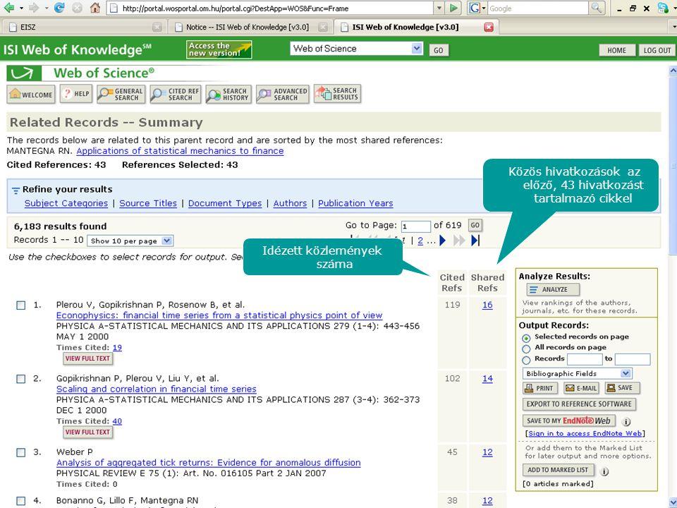 Idézett közlemények száma Közös hivatkozások az előző, 43 hivatkozást tartalmazó cikkel
