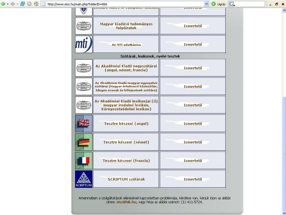 Indexelt és kereshető: címszavak összes szerzői név indexelt, szerző által készített, angol nyelvű, összefoglalókat tartalmaz.