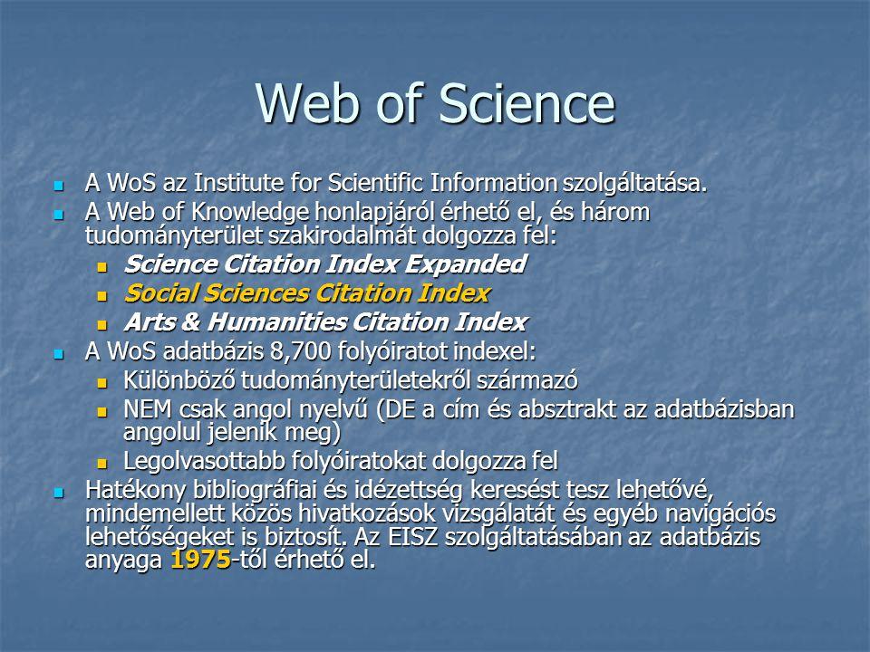 Feldolgozott folyóiratok Folyóiratok száma Rekordok számának növekedése hetenként Hivatkozások számának növekedése hetenként Science Citation Index Expanded 6,12622,200420,600 Social Sciences Citation Index 1,8023,00070,600 Arts & Humanities Citation Index 1,1361,80015,500