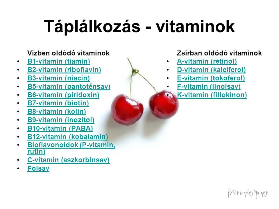 Táplálkozás - vitaminok Vízben oldódó vitaminok B1-vitamin (tiamin) B2-vitamin (riboflavin) B3-vitamin (niacin) B5-vitamin (pantoténsav) B6-vitamin (p