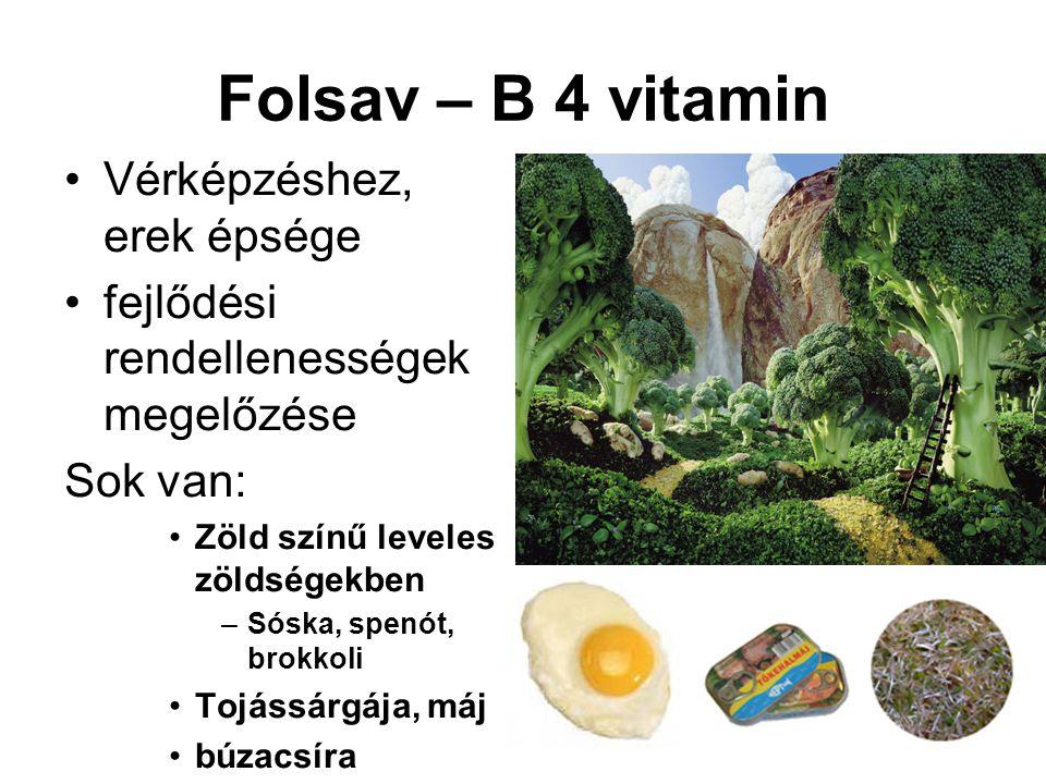 Folsav – B 4 vitamin Vérképzéshez, erek épsége fejlődési rendellenességek megelőzése Sok van: Zöld színű leveles zöldségekben –Sóska, spenót, brokkoli Tojássárgája, máj búzacsíra