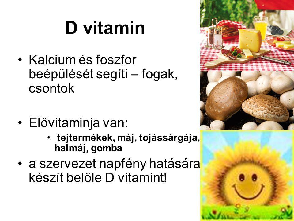 D vitamin Kalcium és foszfor beépülését segíti – fogak, csontok Elővitaminja van: tejtermékek, máj, tojássárgája, halmáj, gomba a szervezet napfény hatására készít belőle D vitamint!