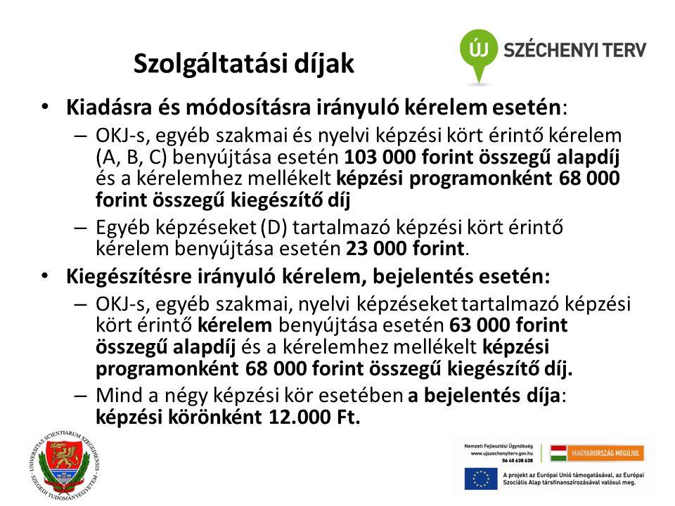 Szolgáltatási díjak Kiadásra és módosításra irányuló kérelem esetén: – OKJ-s, egyéb szakmai és nyelvi képzési kört érintő kérelem (A, B, C) benyújtása esetén 103 000 forint összegű alapdíj és a kérelemhez mellékelt képzési programonként 68 000 forint összegű kiegészítő díj – Egyéb képzéseket (D) tartalmazó képzési kört érintő kérelem benyújtása esetén 23 000 forint.