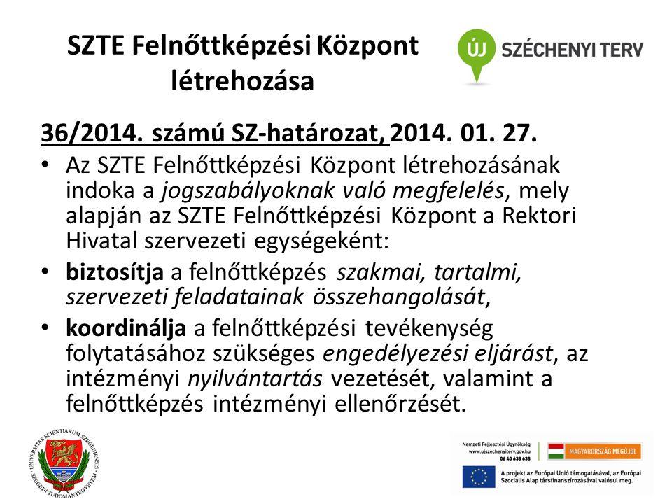 SZTE Felnőttképzési Központ létrehozása 36/2014. számú SZ-határozat, 2014. 01. 27. Az SZTE Felnőttképzési Központ létrehozásának indoka a jogszabályok