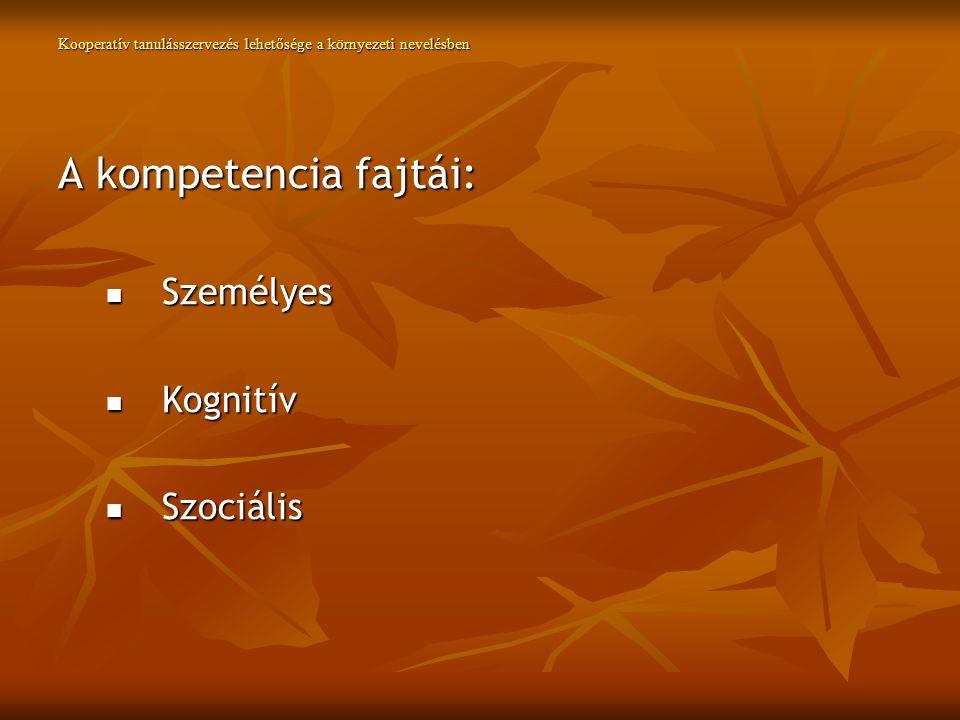 Kooperatív tanulásszervezés lehetősége a környezeti nevelésben A kompetencia fajtái: Személyes Személyes Kognitív Kognitív Szociális Szociális