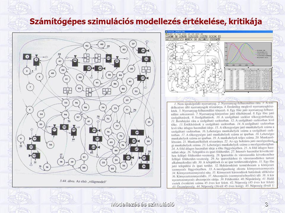 """Modellezés és szimuláció4 A globális modellezés problémái 1970 – 1984: globális rendszerek 13 fő modellje Hiányzott az egységes """"tematika Különböző, ellentmondó eredmények 3/13 modellben természeti erőforrások, környezeti jellemzők 1/13 politikai ellentmondások, háborúk Újabb modellek a modellek """"megdöntésére Emberi döntési mechanizmusok döntő szerepe """"Jóllehet még sohasem rendelkeztünk olyan sok adattal a világról mint ma, jövőnk egyre áttekinthetetlenebbé válik."""
